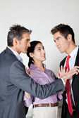 Businesswoman Acting As Peacemaker Between Colleagues — Stock Photo