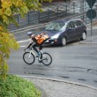 Male Cyclist With Backpack On Street — Stock Photo #15646557
