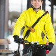Young Man In Protective Gear With Bicycle — Stock Photo
