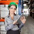 Female Supervisor Using Digital Tablet At Warehouse — Stockfoto