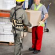 Foremen Carrying Cardboard Box At Warehouse — Stock Photo