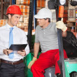 Supervisor Communicating With Forklift Driver — Stock Photo