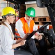Supervisor Showing Clipboard To Colleague Sitting In Forklift — Stock Photo #15648153