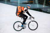 Male Cyclist With Backpack Riding Bicycle — Stok fotoğraf