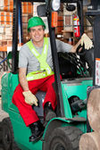 Mid Adult Forklift Driver At Warehouse — Stock Photo
