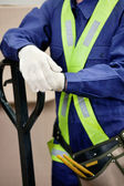 Midsection Of Young Foreman In Protective Clothing — Stock Photo