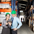 Supervisors Using Digital Tablet At Warehouse - 图库照片