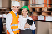 Confident Young Supervisors At Warehouse — Stock Photo