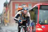 Male Cyclist With Courier Delivery Bag Riding Bicycle — Stok fotoğraf