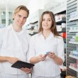 Pharmacist with Digital Tablet — Stock Photo