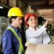 Supervisor And Foreman Checking Stock — Stock Photo