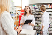 Pharmacist with Digital Tablet — Foto de Stock
