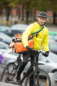 Male Cyclist With Courier Delivery Bag On Street — Stock Photo