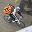 Male Cyclist With Backpack On Sidewalk — Foto Stock