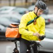 Male Cyclist With Courier Bag Using Mobile Phone On Street — Stok Fotoğraf #16682615