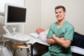 Ultrasound Technician in clinic — Stock Photo