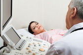 Female For Ultrasound Check Up At Clinic — Stock Photo