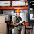 Supervisor Writing On Clipboard At Warehouse — Stock Photo