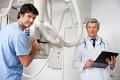 Technician And Radiologist At Clinic — Stock Photo