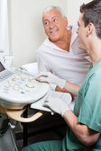 Radiologic Technologist With Patient — Stock Photo