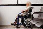 Femme âgée songeuse sur fauteuil roulant — Photo