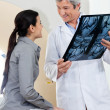 Radiologist Looking At Female Patient — Stock Photo
