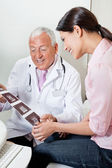 Radiologist Showing Ultrasound Print To Patient — Stock Photo