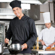 Chefs Cooking Food In Kitchen — Stock Photo