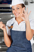 Female Chef Appreciating Delicious Chocolate — Stock Photo