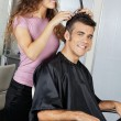 Mature Client Getting Haircut In Salon — Stock Photo #21350151
