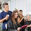 Hairdressers Setting Up Client's Hair In Salon — Stock Photo