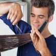 Hairdresser Cutting Client's Hair — Stockfoto #21351115