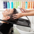 Male Customer Having Hair Washed At Salon — Stok fotoğraf