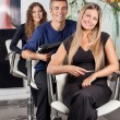 Confident Team Of Hairstylists At Beauty Parlor — Stock Photo