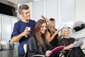 Hairdressers Setting Up Client's Hair In Salon — Photo