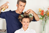 Client With Hairdresser Setting Curls With Hairspray — Stock Photo