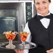 Happy Waitress Holding Dessert Tray — Stock Photo
