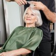 Stock Photo: WomHaving Hair Cut At Salon