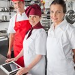 Happy Chefs With Digital Tablet — Stock Photo #21616559