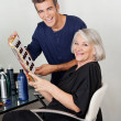 Hairstylist And Client With Color Catalog — Stock Photo