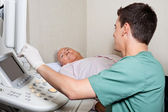 Patient Looking At Ultrasound Machine's Screen — Stock Photo