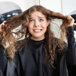 Frustrated Woman Pulling Her Hair — Stock Photo