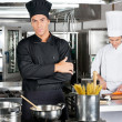 Confident Chef With Colleague In Kitchen — Stock Photo