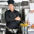 Confident Chef With Colleague In Kitchen — Photo