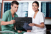Medical Technicians Analyzing MRI X-ray — Stock Photo