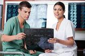 Medical Technicians Analyzing MRI X-ray — Stock Photo
