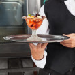 Waitress Holding Dessert Tray — Stock Photo