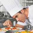 Stock Photo: Chef Garnishing PastDishes