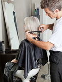 Woman Getting Hair Cut In Beauty Parlor — Stock Photo