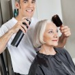 Stock Photo: Hairdresser Setting Up Customer's Hair